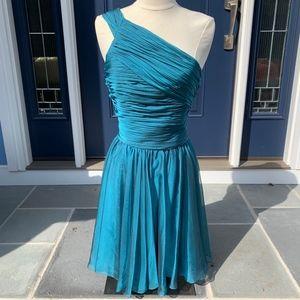 Halston Heritage Blue One-Shoulder Dress